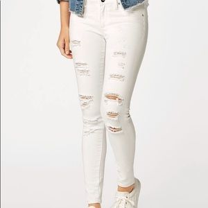 Just Fab White Distressed Jeans